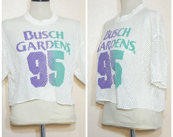 90s White Mesh Crop Top Busch Gardens Health Goth Pastel Goth Sheer Top