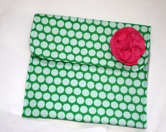 Clutch- Teal and Green with Pink Flower