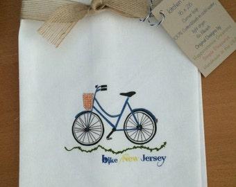 Bike New Jersey Kitchen Towel with State Option Cotton Kitchen Gift Kitchen Decor Cyclist