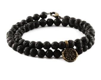 Mens Black Bracelet Wrap Antique Brass Lava Stones
