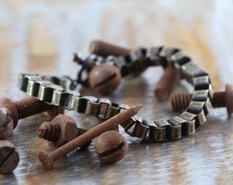 Mens Bracelet Brass Antique Oxidized Box Chain Jewelry