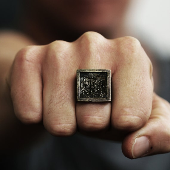 Mens Ring Oxidized Antique Brass Square Ring Mens Jewelry