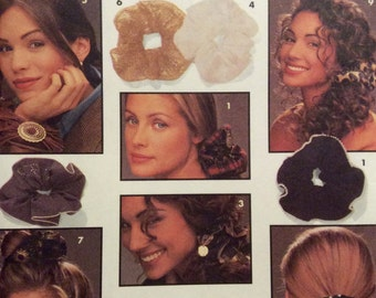 Vintage Sewing Pattern Hair Accessories Scrunchies Ponytail Holders 1993 Uncut