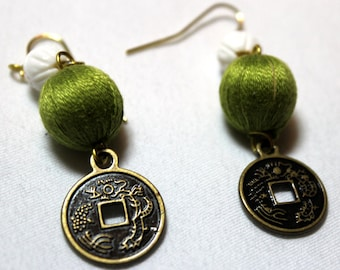 Good Luck Coin Thread Wrapped Earrings