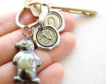 Hematite Penguin Keychain Pet Gift personalized Keychain Initial Keychain Wax Seal Personalized Women Gift for man boyfriend coworker dad