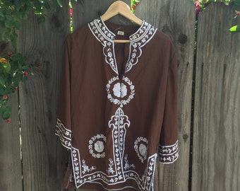 Vintage hippie embroidered blouse