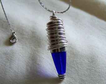 Cobalt Blue Art Deco Style Silver Bullet Jewelry Pendant