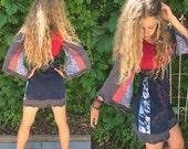 Eco Tunic Dress, size XS-M hippy dress, boho tunic dress, patchwork tunic, festival dress,kimono sleeve dress, patchwork dress,red mix Zasra