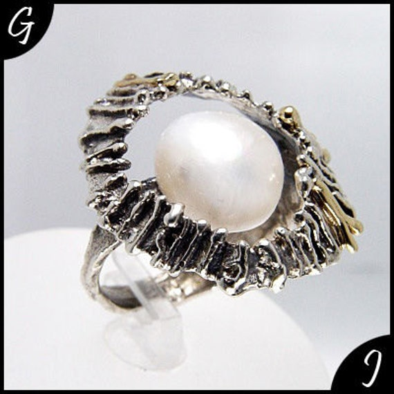 Gold Flower Ring, 925 Sterling Silver Ring, 9K Gold Ring, White Pearl Ring, Valentines Gifts, Silver Rings with Stones Size 6