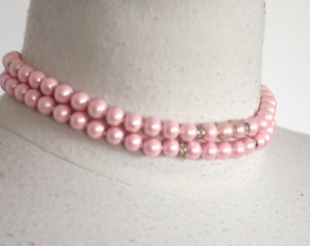 Vintage 1940s 1950s Pink Pearl Choker // 40s 50s Necklace // Marie Antoinette // 2 Strand Choker