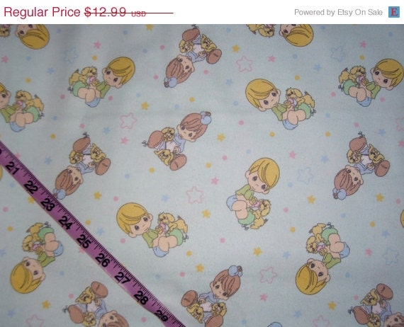 Vintage Precious Moments Flannel Fabric Boy By