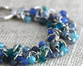 Variegated Blue Beaded Cluster Bracelet - Light Sky Wedgewood Denim Blue Teal - Playful Fun Casual Bracelet