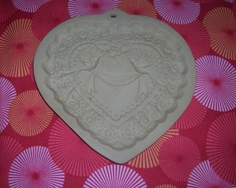 Vintage 1984 Brown Bag Heart Shaped Cookie Mold With Love Birds