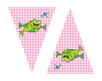 "Frog Birthday - Frog Banner - ""Happy Birthday"" - Birthday Party - Decoration - Garland - Party - Printable - INSTANT DOWNLOAD, Pink"