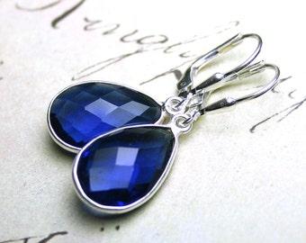 Sapphire Blue Quartz Earrings in Sterling Silver- Cobalt Blue Teardrop Earrings With Silver Leverbacks - Cushion Cut
