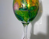 Flower and Butterfly Wine Glass Hand Painted Monet Look Design Made in USA