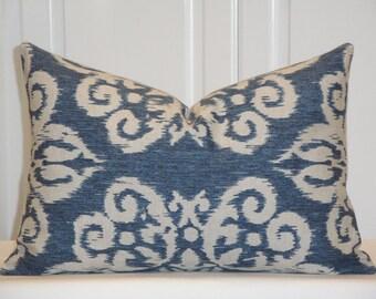 Decorative Pillow Cover - IKAT - Throw Pillow - Accent Pillow - Blue - Natural - Lapis