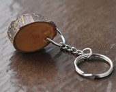 apricot wood key ring • wooden keychain