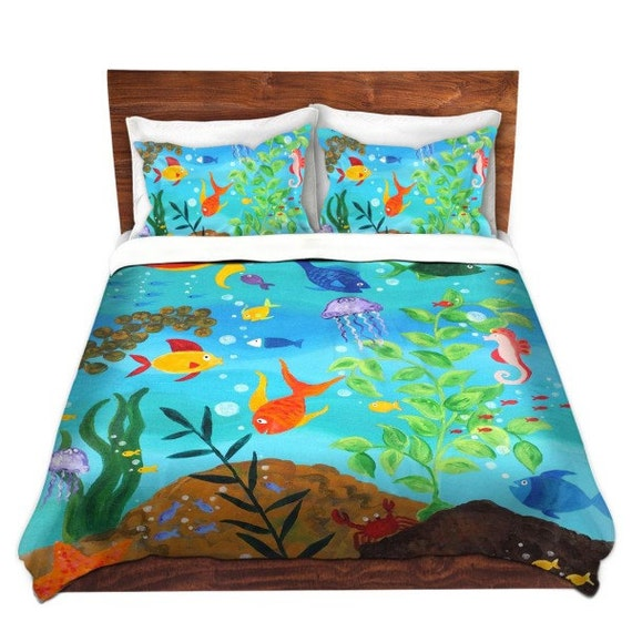 Happy Fish 3, Duvet Cover, bedding for kids room, nursery decor, beach theme.