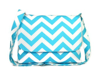 Blue Chevron Messenger Purse with Gray, Medium Crossbody Bag, Aqua Chevron Cross Body Handbag, Chevron Purse, Fabric Pocketbook, Cotton Bag