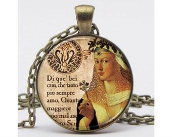 Lucrezia Borgia Necklace with Chain Altered Art Pendant Resin Pendant  Art Pendant Picture Pendant