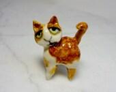 Cat Terrarium Miniature - Miniature Kitten - Miniature Figurine - Pottery Cat - Ginger Colored Cat - Tabby - Peggy Hamlin