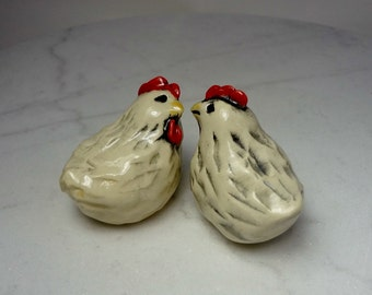 White Chicken Terrarium Miniature - Miniature Figurines - Pottery Chickens - Clay Chickens - Farm Animals - set of 2 (studio choice)