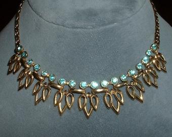 Vintage Aqwua Blue Rhinestone Necklace Classic Mid Century Golden Filigree