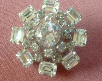 Superb Vintage Rhinestone Brooch Pin Domed Multi Layer Large Rectangle and Round Rhinestones Spectacular