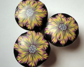 8 Amazing Polymer Clay  Cabinet Knobs/Pulls Black,Yellow Purple Clay over Metal  Set of 8  Choice of finish