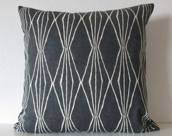 Robert Allen Handcut Shapes Charcoal geometric decorative pillow cover