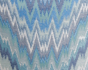 Flame Stitch Caribbean blue zig zag decorative pillow cover