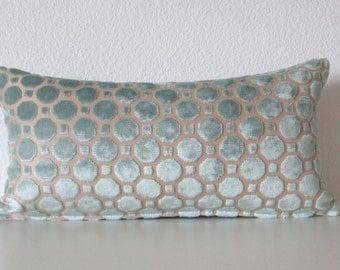 Robert Allen Velvet Geo - Mineral - 8x16 - mini lumbar pillow cover