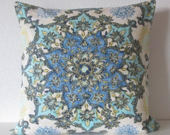 Mandala bohemian kaleidoscope  blue aqua citrine decorative pillow cover