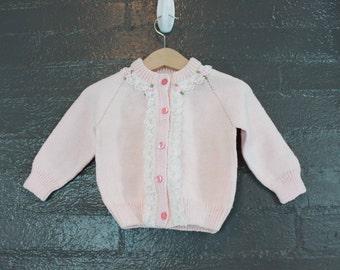 SALE Vintage 80s  Pink Knit Cardigan