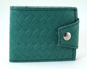 Emerald Green 1979 Chrysler Billfold Wallet -Vintage Basketweave Pattern Made of Old Car Vinyl - Change Pocket