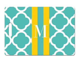 Personalized luggage tag turquoise clover yellow monogram or choice of colors