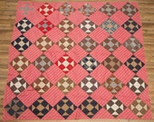 Antique quilt top, mid to late 1800s double pink, circa 1860s fabrics