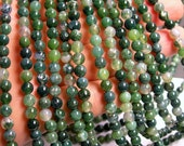 Moss agate - 6 mm round beads -1 full strand - 67 beads - A quality - RFG 223