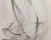 Minimalist abstract sailboat ink painting - Racing Day 15 18 x 24