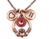 Antique Copper Love Necklace Love Wins Marriage Equality Necklace Celtic Claddagh Jewelry Heart and Hands Heart Pendant Custom Crystal Color