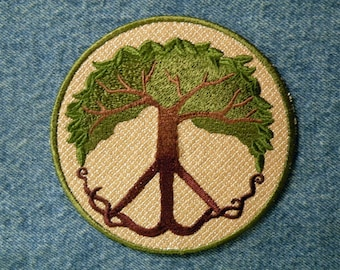 "Peace Tree Iron on Patch 2 sizes 3.5"" & 4.5"""