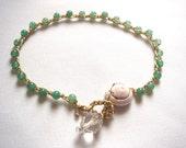Surfer Crochet  Anklet, Bohemian Summer  Boho Beach Chic  Style, Spyral Sea Shell Ocean Green Aventurine Semiprecious Beads