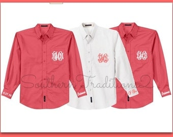 Set of 4 Bridal Party Wedding Day Shirts - Monogrammed Button Down Oxford Shirt