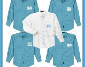 Monogram Bridal Party Wedding Day Shirts - Set of 5 - Monogrammed Button Down Oxford Shirt