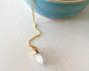 Tiny spike moonstone /  gold dipped moonstone spike necklace / moonstone dagger / dainty  noonstone spike