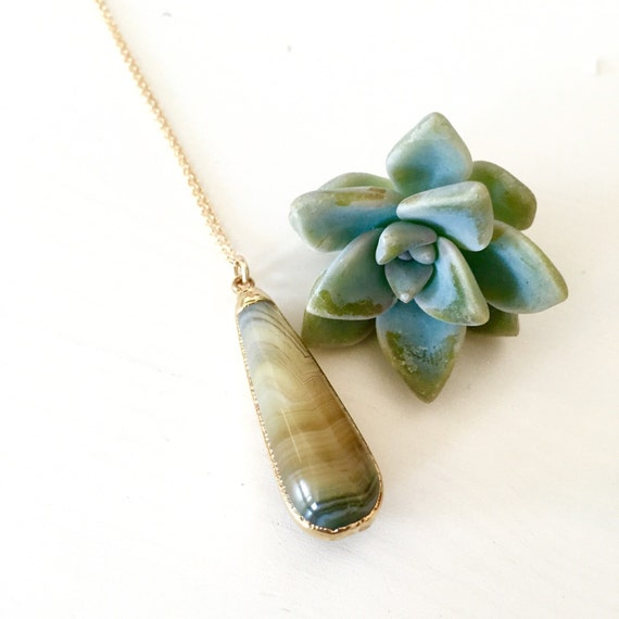 Moss green agate / moss green lace agate / agate pendant