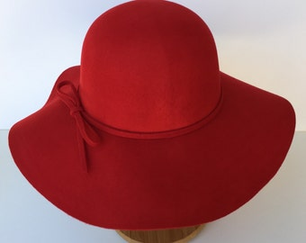 100 Percent  Wool Plain Floppy Sun Hat Red (15.5 inches full length)