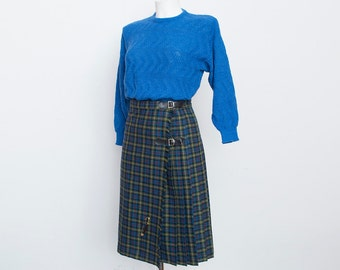 NOS Vintage Pleated blue green plaid Skirt size S