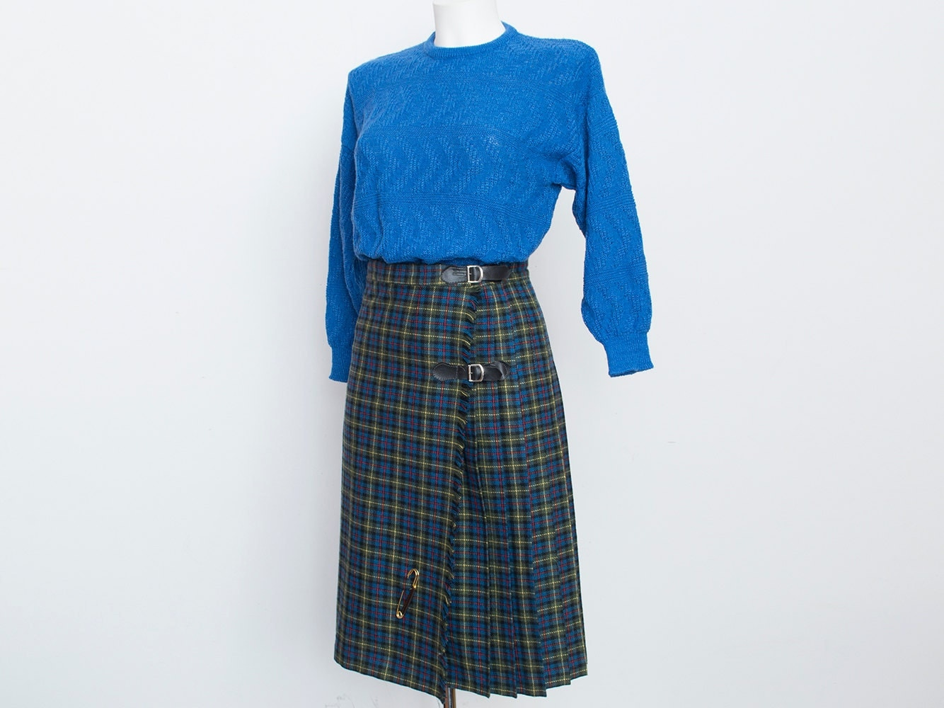 nos vintage pleated blue green plaid skirt size by